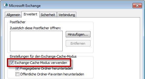Outlook 2010: Den Exchange-Cache-Modus wieder aktivieren