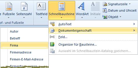 Word 2010: Der Weg zu den Deckblatt-Schnellbausteinen