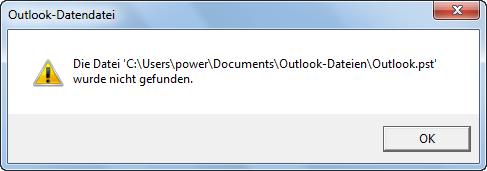 Outlook 2010: Fehlermeldung nach dem Verschieben der PST