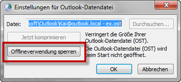 Outlook 2010: Offlineverwendung sperren
