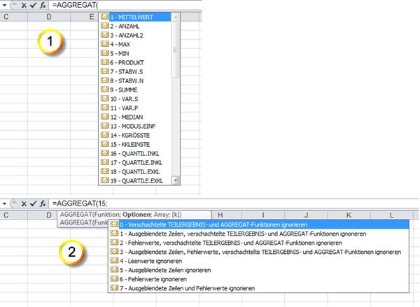 Excel 2010: Die AGGREGAT()-Funktion sowie die Optionen