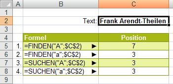 Finden() und Suchen() im Vergleich Beispiel 1