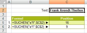 Finden() und Suchen() im Vergleich Beispiel 2