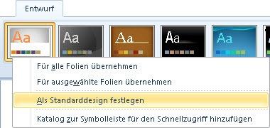 PowerPoint 2010: Standard-Design festlegen