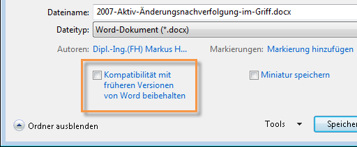 Word 2010: Speichern-Dialogfeld
