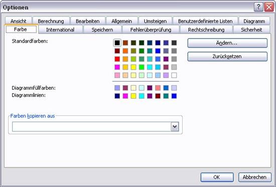 Excel 2003 - Farben über die Optionen anpassen