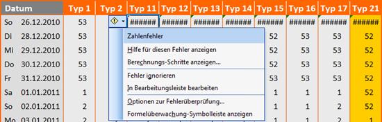 Fehler in Excel 2003 für Typ 11 bis 21