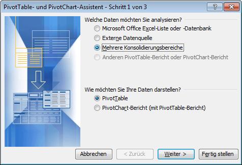 Das Dialogfeld des Pivot-Assistenten in Excel 2003