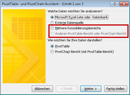 Dialogfeld des Pivot-Assistenten In Excel 2010