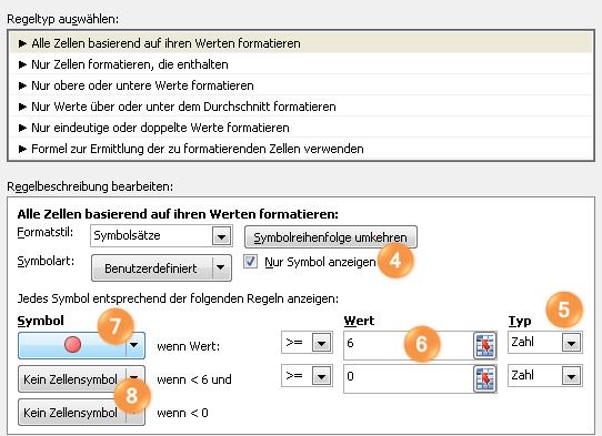 Im Dialogfeld Neue Formatierungsregel den Symbolsatz anpassen