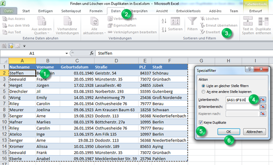Duplikate entfernen oder Unikate finden in Excel 2010: Wie ...