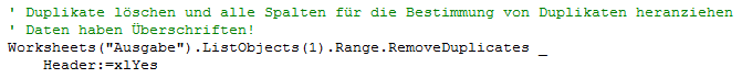 Den Parameter Header mit xlYes belegen