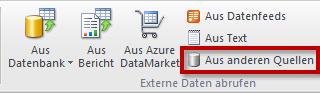 Excel-Import über Aus anderen Quellen