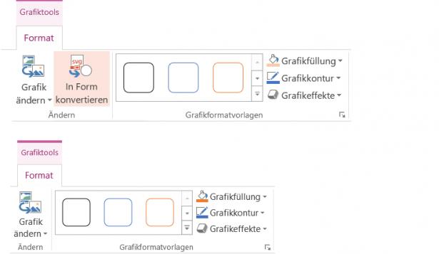 Die Registerkarte Grafiktools mit und ohne den Befehl In Form konvertieren