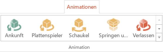 Die 5 neuen Animationseffekte für 3D-Objekte im Menüband von PowerPoint
