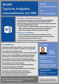 Workshop Word - Typische Aufgaben automatisieren mit VBA Flyer