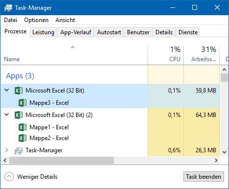 Im Task-Manager gut zu erkennen: Mappe3 wurde in einer neuen Excel-Instanz geöffnet