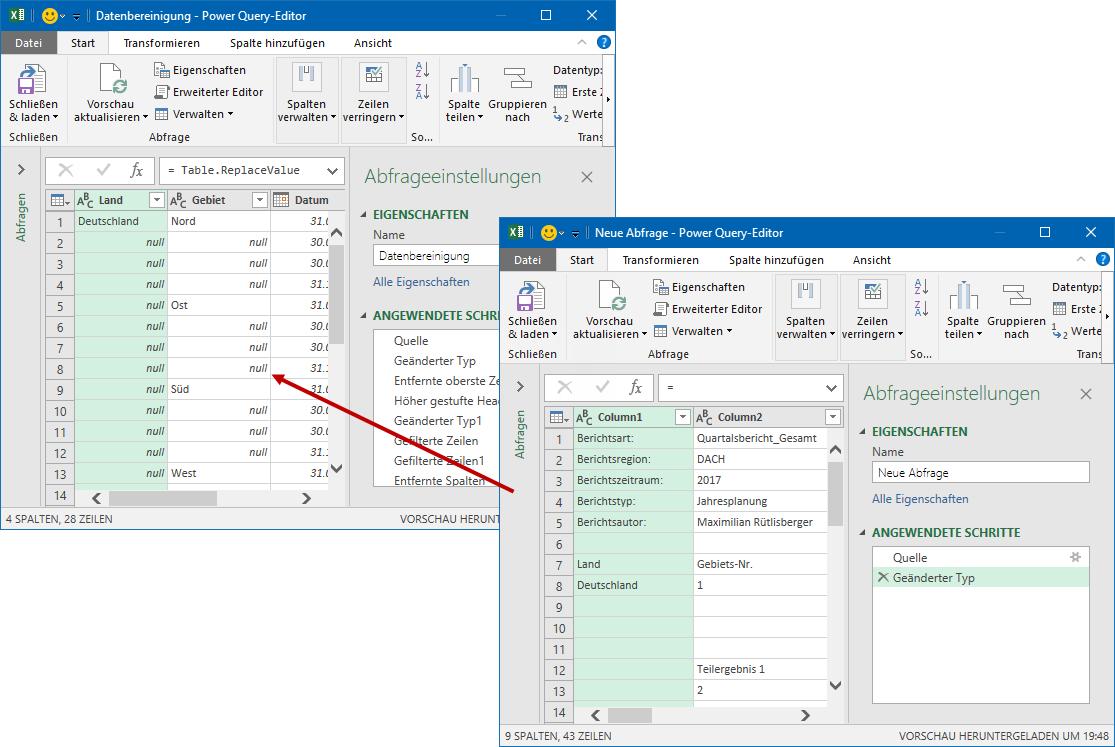 Beide Editor-Fenster laufen in unterschiedlichen Excel-Instanzen und können parallel angezeigt und bearbeitet werden