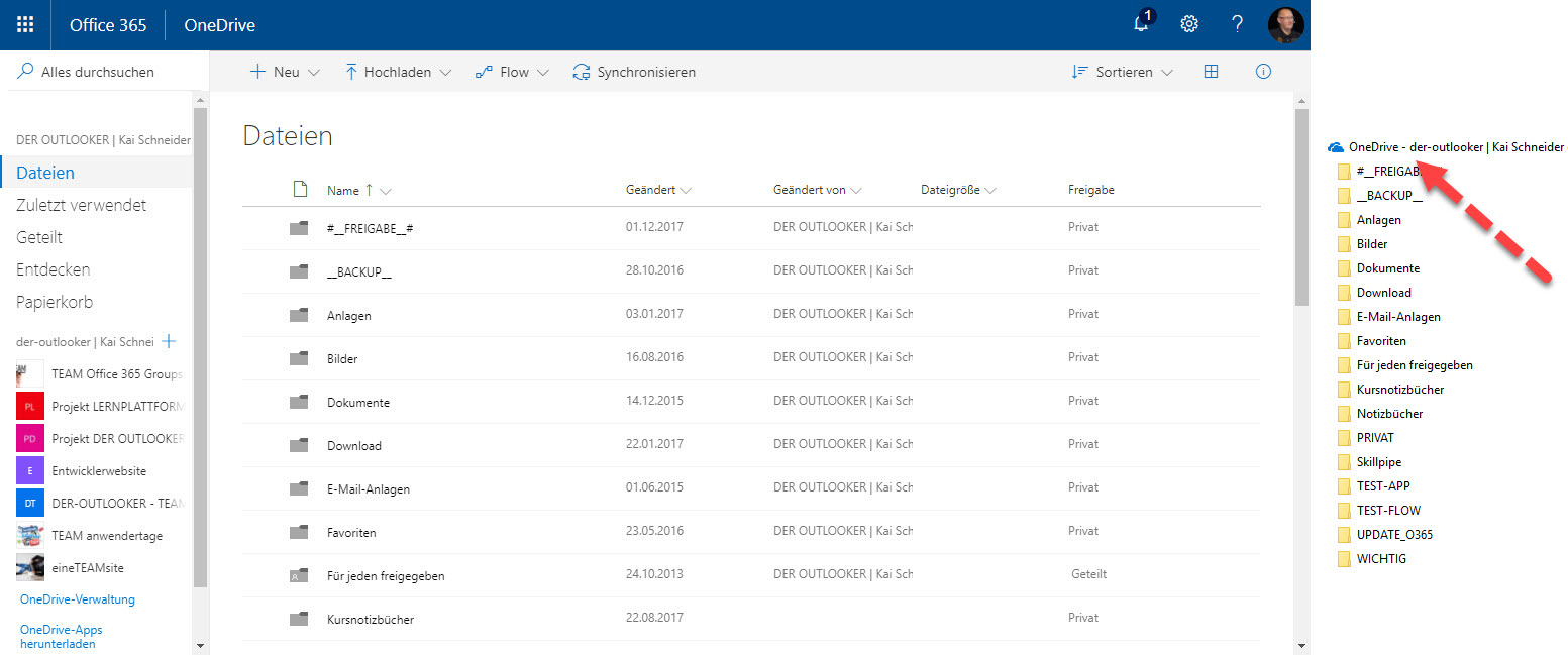 OneDrive for Business im Browser und Datei Explorer