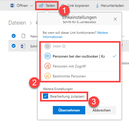 OneDrive for Business Freigabe (Teilen)