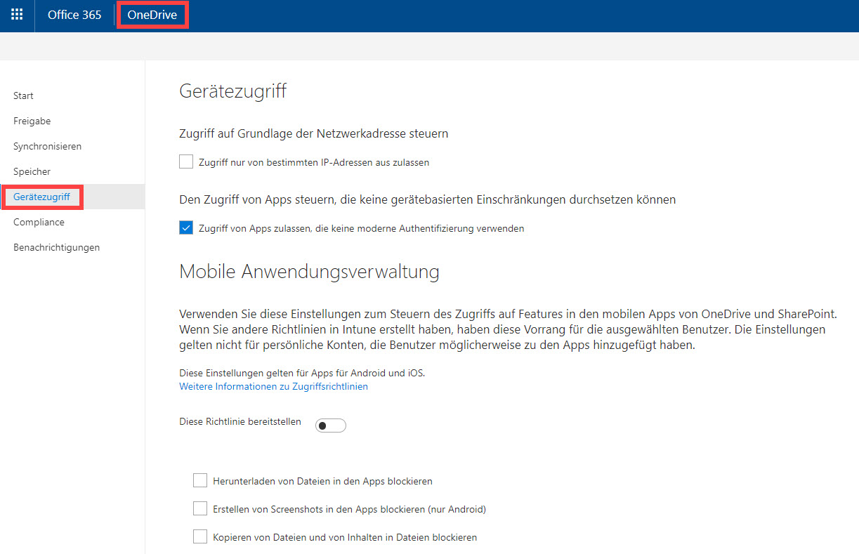 OneDrive im Office 365 Admin-Center