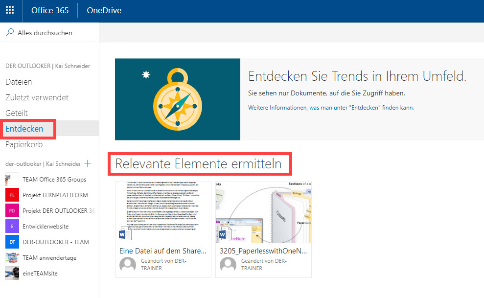Dateien entdecken in OneDrive for Business