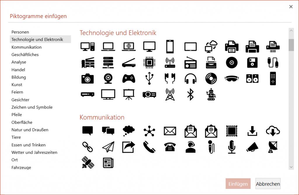 In PowerPoint 2019 und PowerPoint Online sind die neuen Piktogramme noch nicht angekommen