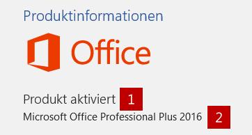 An diese Informationen ist die Kauf Version von Office 2016 zu erkennen