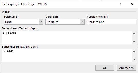 Im Dialogfeld werden zunächst nur Text-Platzhalter für INLAND und AUSLAND eingetragen