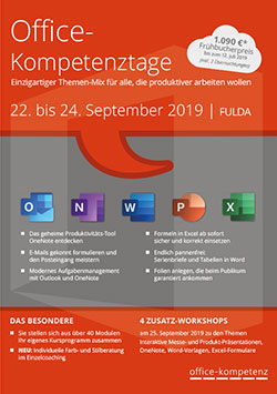 Flyer der Office-Kompetenztage 2019