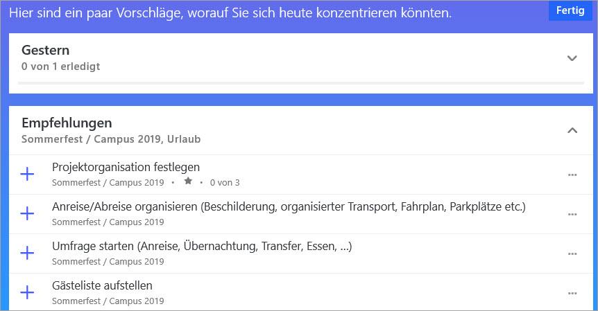 Screenshot von der Vorschalgsliste von To-do