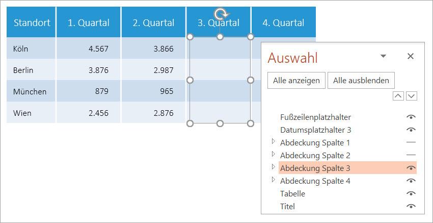 Zeigt eine PowerPoint-Tabelle und den zugehörigen Auswahlbereich mit allen Objekten auf der Folie
