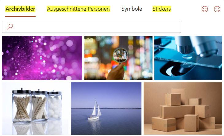 Neues Dialogfeld zum Einfügen von Bildern, Symbolen und Stickern