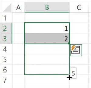 Screenshot von einem Excel-Arbeitsblatt