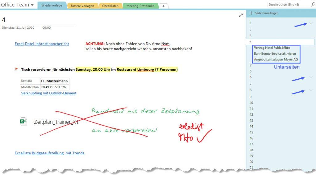 Screenshot aus OneNote, stellt exemplarisch eine Seite einer Weidervorlage dar