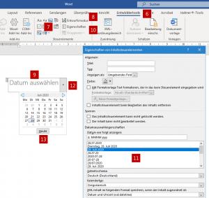 Dem Kalender-Element lässt sich ganz einfach ein DIN-konformes Datum zuweisen.