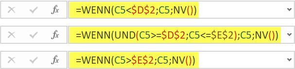 Diese 3 WENN-Funktionen sorgen für ie passenden Daten in Spalte D bis F