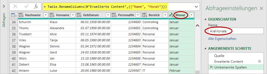 Hier sind bereits alle intelligenten Tabellen konsolidiert in einer Liste mit hinzugefügter Spalte für den Monat